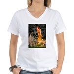 Fairies / Bullmastiff Women's V-Neck T-Shirt