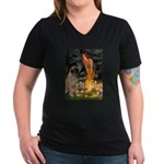 Fairies / Bullmastiff Women's V-Neck Dark T-Shirt