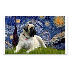 Starry / Bullmastiff Sticker (Rectangle)