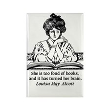 Too Fond of Books (LM Alcott) Rectangle Magnet