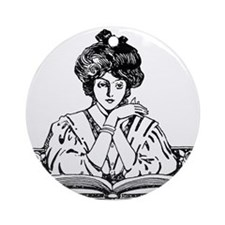 Too Fond of Books (LM Alcott) Ornament (Round)