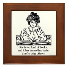 Too Fond of Books (LM Alcott) Framed Tile