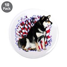 "Shiba(blk) Patriot 3.5"" Button (10 pack)"