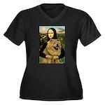 Mona /Chow Chow #1 Women's Plus Size V-Neck Dark T