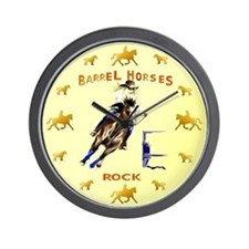 Barrel Horses Rock Wall Clock