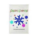 Blue Ribbon Snowflake Rectangle Magnet