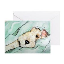 Napping Wire Fox Terrier Greeting Card
