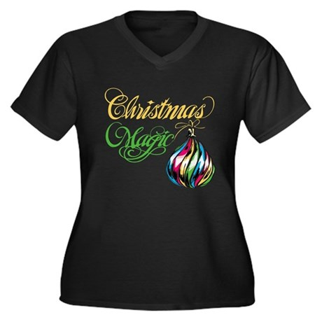 CHRISTMAS MAGIC Women's Plus Size V-Neck Dark T-Sh