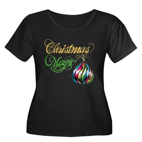 CHRISTMAS MAGIC Women's Plus Size Scoop Neck Dark