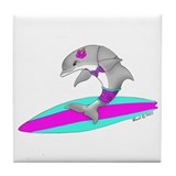 Surfing Dolphin Tile Coaster