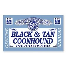 BLACK TAN COONHOUND Rectangle Decal