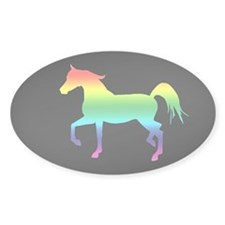 Rainbow Arabian Horse Oval Decal