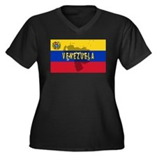 Venezuela Flag Extra Women's Plus Size V-Neck Dark
