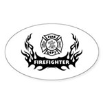 Fire Dept Firefighter Tattoos Sticker (Oval)