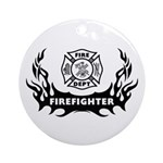 Fire Dept Firefighter Tattoos Ornament (Round)