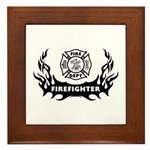 Fire Dept Firefighter Tattoos Framed Tile