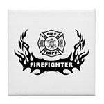Fire Dept Firefighter Tattoos Tile Coaster