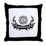 Fire Dept Firefighter Tattoos Throw Pillow