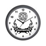 Fire Dept Firefighter Tattoos Wall Clock
