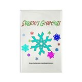 Light Blue Ribbon Snowflake Rectangle Magnet