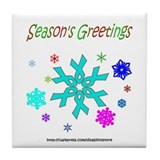 Light Blue Ribbon Snowflake Tile Coaster