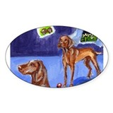 MOON smiles over Vizlas Oval Decal
