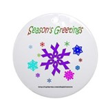 Purple Ribbon Snowflake Ornament (Round)