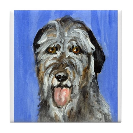 IRISH WOLFHOUND Portrait Desi Tile Coaster