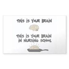 Fried Nursing Student Brain Rectangle Decal