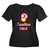 Zambian chick Women's Plus Size Scoop Neck Dark T-