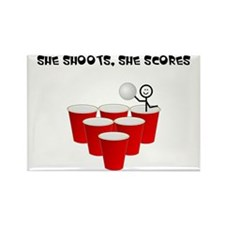 She Shoots,She Scores-Beer Pong Rectangle Magnet
