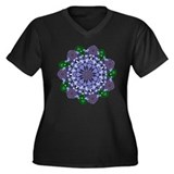 Lotus Star Women's Plus Size V-Neck Dark T-Shirt
