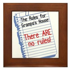 No Rules at Grampa's House Framed Tile