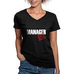 Off Duty Manager Women's V-Neck Dark T-Shirt