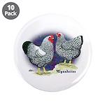 "Silver Wyandotte Chickens 3.5"" Button (10 pac"