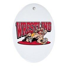 Wrestling Takedown Oval Ornament