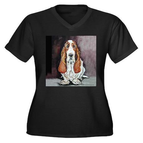 Basset Hound Portrait Women's Plus Size V-Neck Dar