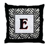 Zebra Monogram E Throw Pillow