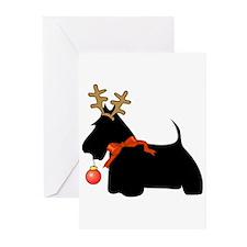Scottie Dog Reindeer Greeting Cards (Pk of 20)