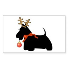 Scottie Dog Reindeer Rectangle Decal