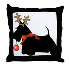 Scottie Dog Reindeer Throw Pillow