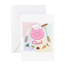Pinky Chef Pig Greeting Card