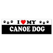CANOE DOG Bumper Car Sticker