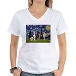 Starry / 4 Great Danes Women's V-Neck T-Shirt