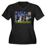 Starry / 4 Great Danes Women's Plus Size V-Neck Da