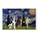 Starry / 4 Great Danes Sticker (Rectangle)