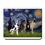 Starry / 4 Great Danes Mousepad