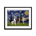 Starry / 4 Great Danes Framed Panel Print