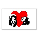 Panda Bear Love Sticker (Rectangle)