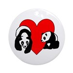 Panda Bear Love Ornament (Round)